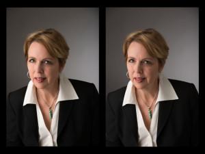 Edited and Unedited Female Executive Headshot Portrait Examples